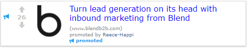 Example of an inbound reddit ad
